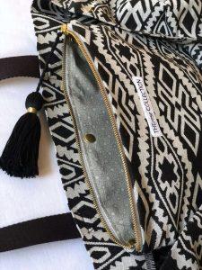 Quaste-Innentasche-Shopper schwarz