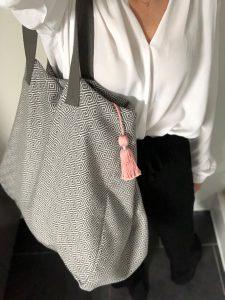 XL Shopper Diamond Muster grau mit Details in Rosé - 2