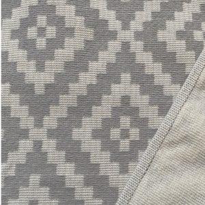 Grafisches Muster grau / Rückseite Frottee
